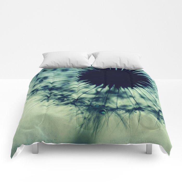 dandelion green teal Comforters