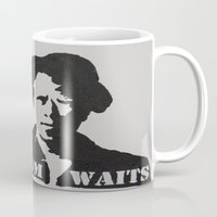 tom waits Mugs featuring Tom Waits Painting by All Surfaces Design