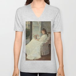 The Artist's Sister at a Window by Berthe Morisot Unisex V-Neck