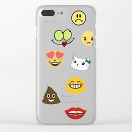Emoji Collage 11 Clear iPhone Case