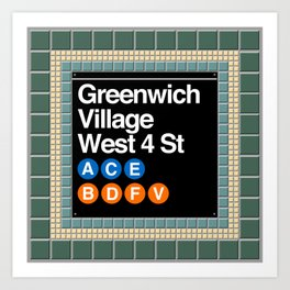 subway greenwich village sign Art Print