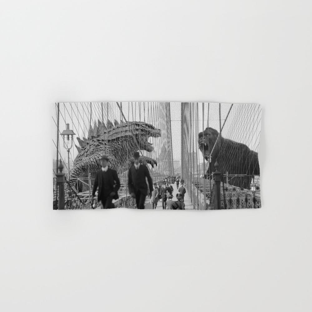 Old Time Godzilla Vs. King Kong Hand Towel by Taylor_holmes BTL6850196