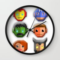 avenger Wall Clocks featuring The Avenger Pixel by Aulia-pyon