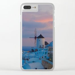 Santorini, Oia Greece, Windmill Sunrise Clear iPhone Case
