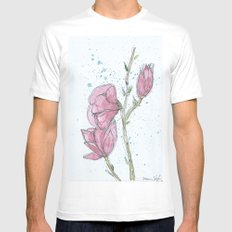 Magnolia #2 White MEDIUM Mens Fitted Tee