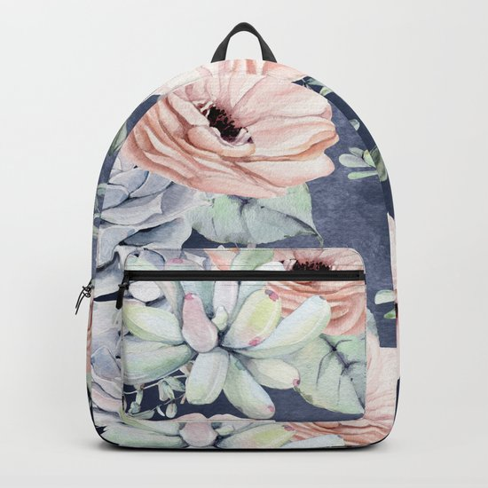 Night Succulents Navy Backpack