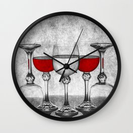 Still life with glass glasses with wine Wall Clock
