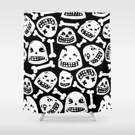 Skulls Pattern 1 (Black) Shower Curtain