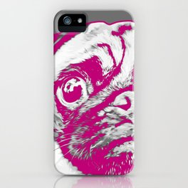 Sweet pug in pink and gray. Pop art style portrait. iPhone Case