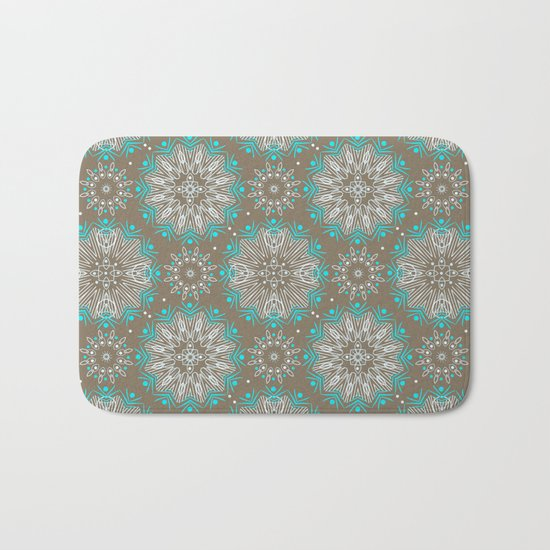 Brown turquoise bling . Bath Mat
