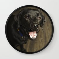 lab Wall Clocks featuring Black Lab by Every Dog Has a Story