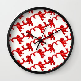 Monkey Toy Pattern - Red Wall Clock