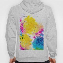 Blue Yellow Abstract Watercolor Neon Pink Splatter Hoody