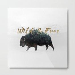 Wild & Free Bison Metal Print