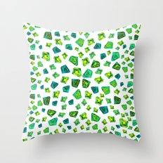Green beautiful hand drawn gems. Throw Pillow