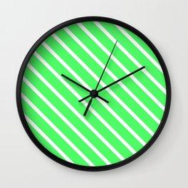 Mint Julep #1 Diagonal Stripes Wall Clock
