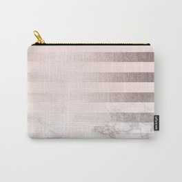 Rose Gold Pink Stripes and Marble Design Carry-All Pouch