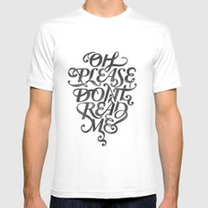 Please Don't (white version) White Mens Fitted Tee MEDIUM