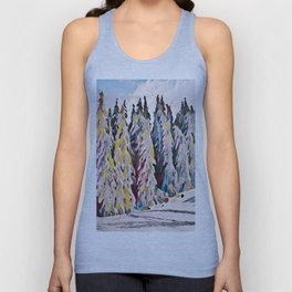 Pine Trees Covered in Snow Unisex Tank Top