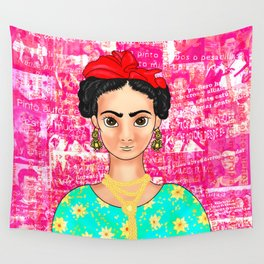 Frida OK Pink Wall Tapestry