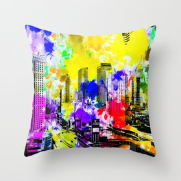 building of the hotel and casino at Las Vegas, USA with blue yellow red green purple painting abstra Throw Pillow