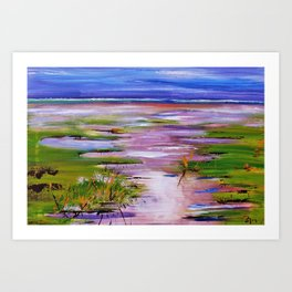 land behind the sea Art Print