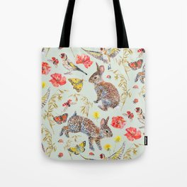 Bunny Meadow Pattern - Green Tote Bag