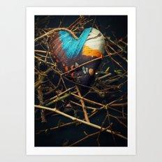 Butterfly heart amongst thorns Art Print
