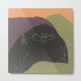 Abstract Bat - Black and Green, Abstract Landscape, Animal Illustration Metal Print