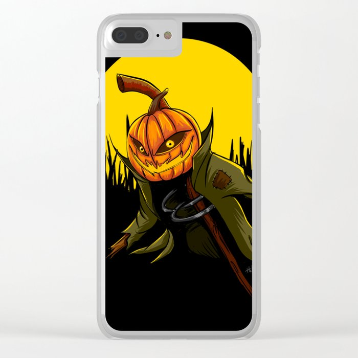 Pumpkin scarecrow Clear iPhone Case