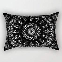 Kaleidoscope crystals mandala in black and white Rectangular Pillow