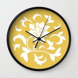 Oriental Flower - Mustard Yellow Wall Clock