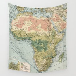 Vintage Africa Commercial Shipping Routes Map (1907) Vintage African Ports Atlas Wall Tapestry