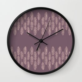 Purple Palm Pattern Wall Clock