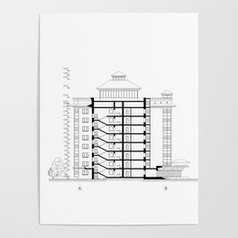 Detailed architectural multistory building floor plan, apartment layout, blueprint. Poster