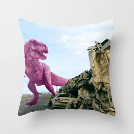 Pink and Gold Cars Throw Pillow