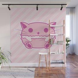 Pink Kawaii Cat Macaroon Wall Mural