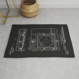 Record Player Patent - Black Rug