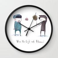 fibonacci Wall Clocks featuring Van Gogh and Fibonacci  by paintpotface