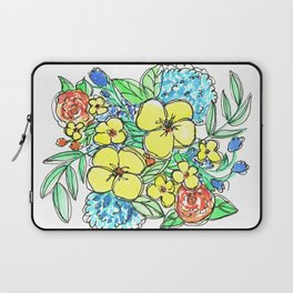 Yellow and Blue Spring Floral Watercolor Laptop Sleeve