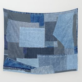 Boroboro Blue Jean Japanese Boro Inspired Patchwork Shibori Wall Tapestry