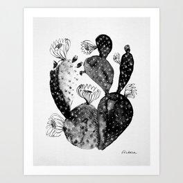 Black And White Cacti Art Print