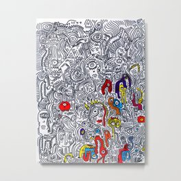 Pattern Doddle Hand Drawn  Black and White Colors Street Art Metal Print