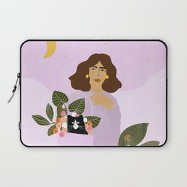 Shopping with Cat Purple Laptop Sleeve