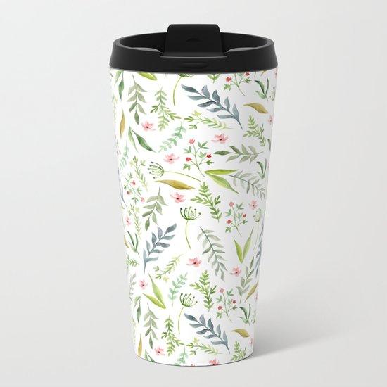 Leaf pattern. Watercolor Metal Travel Mug