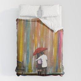Love in the Rain romantic painting by Manjiri Kanvinde Duvet Cover