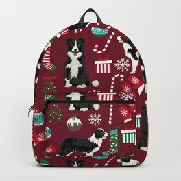 Border Collie christmas stockings presents holiday candy canes dog breed pattern Backpack