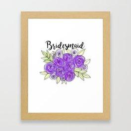Bridesmaid Wedding Bridal Purple Violet Lavender Roses Watercolor Framed Art Print