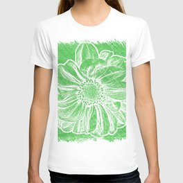 White Flower On Tech Green Crayon T-shirt