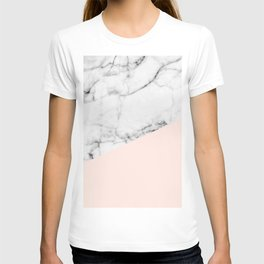 Real White marble Half Salmon Pink T-shirt